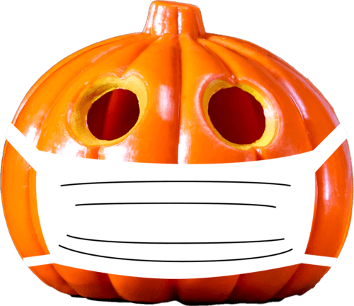 A Jack-O-Lantern wearing a mask to protect the community from COVID-19