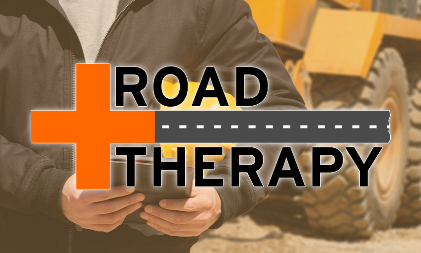 Road Therapy logo over a construction worker.