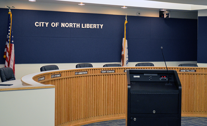 The North Liberty City Council Chambers