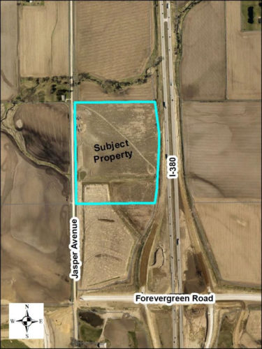 Locator map for property considering a subdivision plat on the west side of I-380 and north of Forevergreen Road, and is zoned C-2-A (Highway Commercial