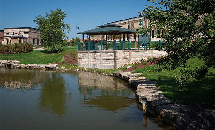 A view of Liberty Centre pond.