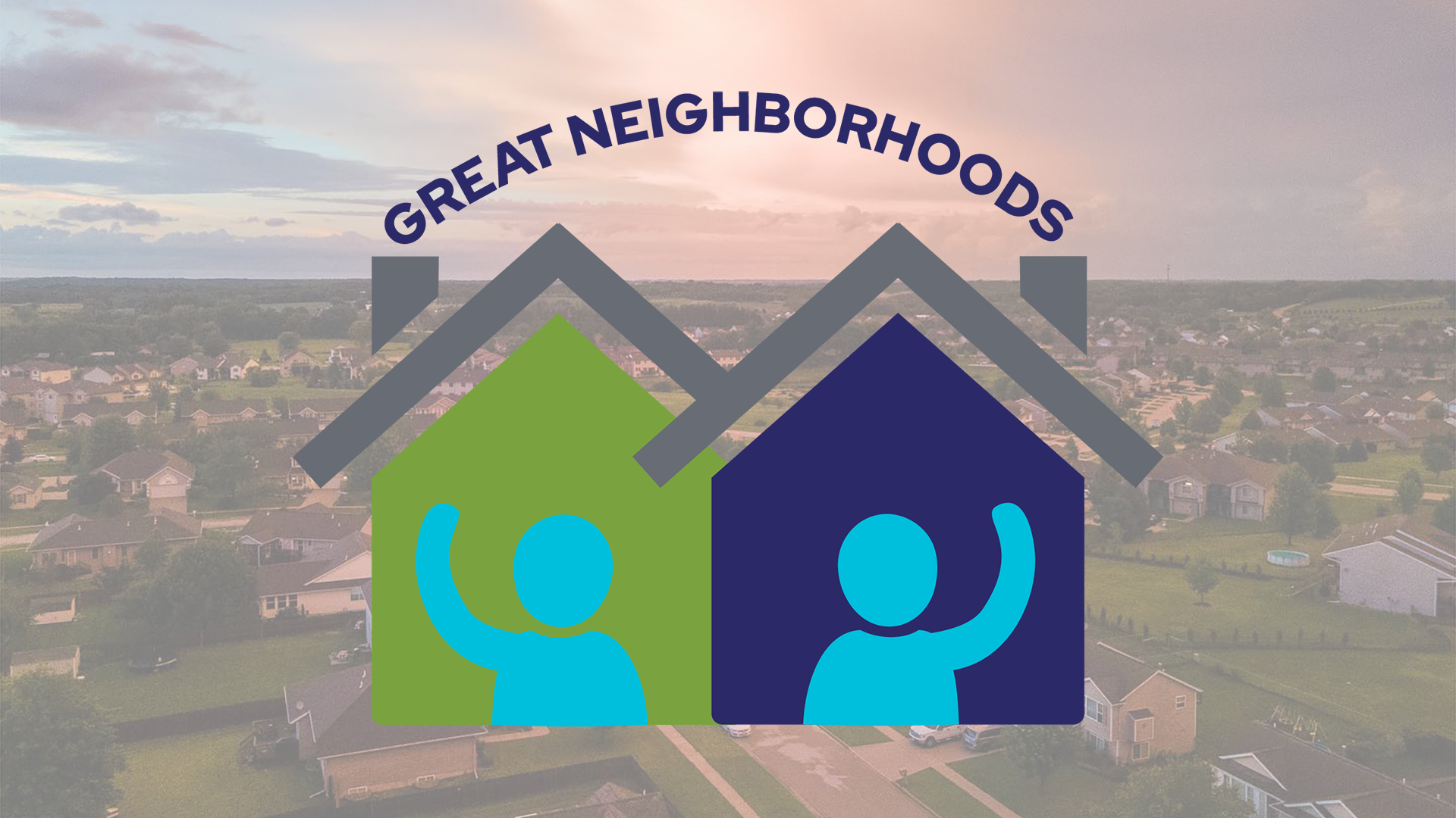 Great Neighborhoods Logo with houses in background
