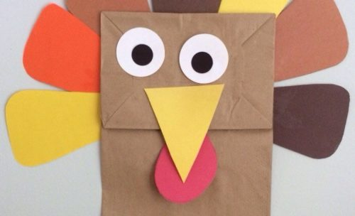 A turkey crafted from a paper bag.