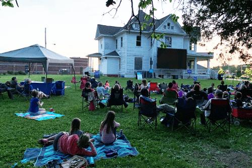 Crowd on lawn