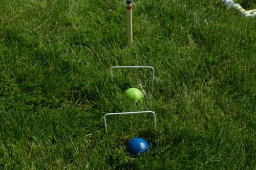 Croquet set up at play
