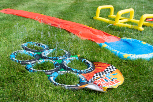 Water obstacles laid out in the grass